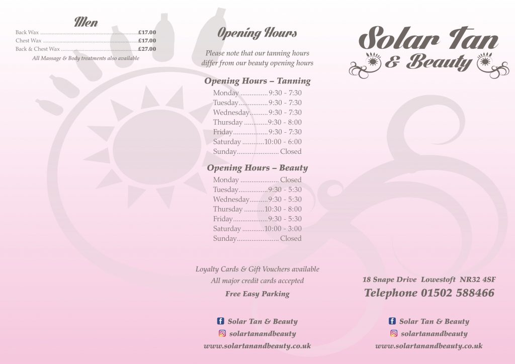 Price list solar tan and beauty
